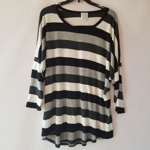 Sunday anthorpologie 3/4 sleeve striped top XL